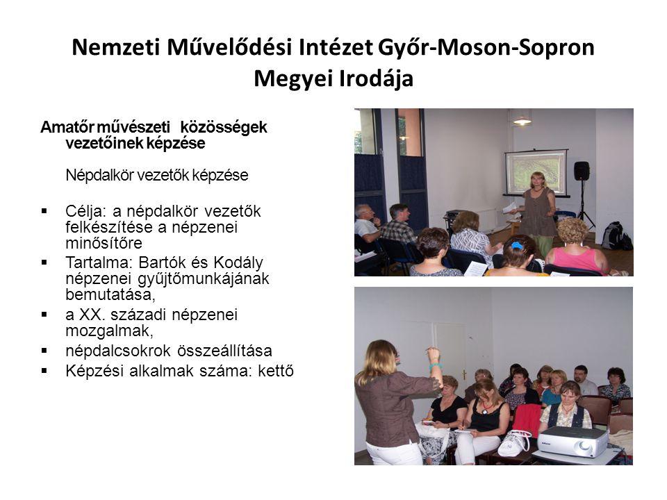 Nemzeti Művelődési Intézet Győr-Moson-Sopron Megyei Irodája Amatőr művészeti közösségek vezetőinek képzése Népdalkör vezetők képzése  Célja: a népdal