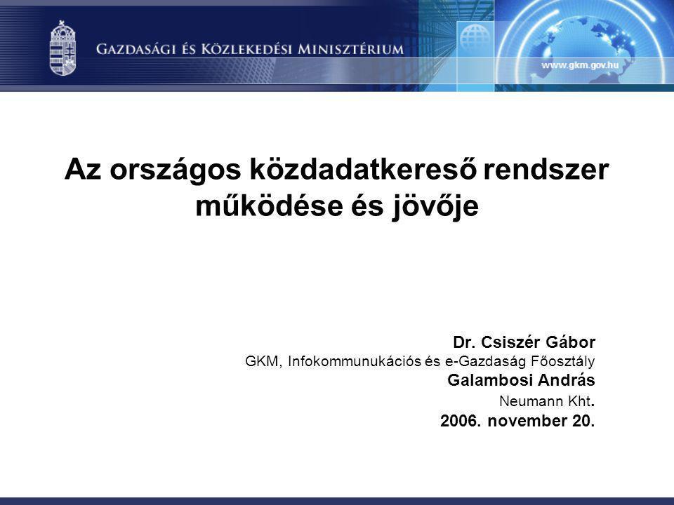 Az országos közdadatkereső rendszer működése és jövője Dr.
