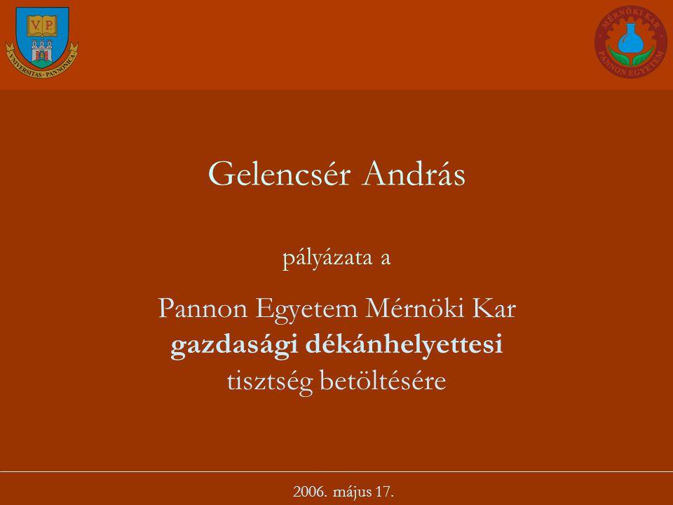 Gelencsér András pályázata a Pannon Egyetem Mérnöki Kar gazdasági dékánhelyettesi tisztség betöltésére 2006. május 17.