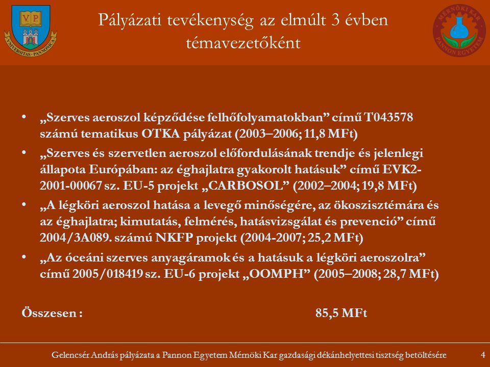 Gelencsér András pályázata a Pannon Egyetem Mérnöki Kar gazdasági dékánhelyettesi tisztség betöltésére4 Pályázati tevékenység az elmúlt 3 évben témave