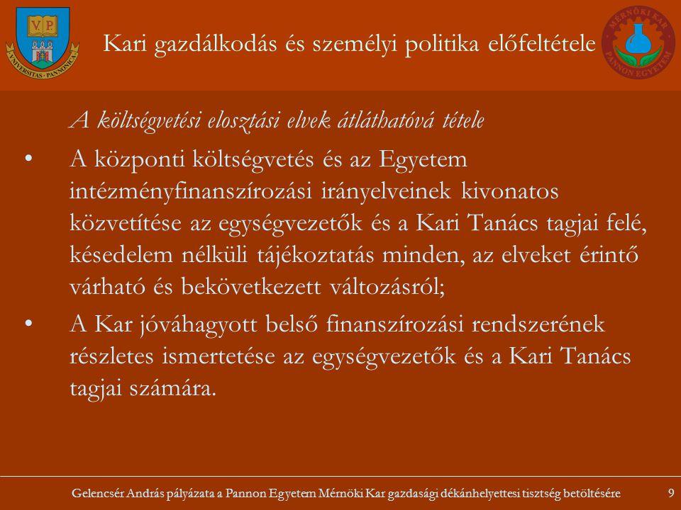 Gelencsér András pályázata a Pannon Egyetem Mérnöki Kar gazdasági dékánhelyettesi tisztség betöltésére9 Kari gazdálkodás és személyi politika előfelté