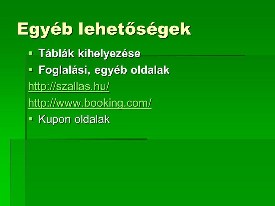 Egyéb lehetőségek  Táblák kihelyezése  Foglalási, egyéb oldalak http://szallas.hu/ http://www.booking.com/  Kupon oldalak