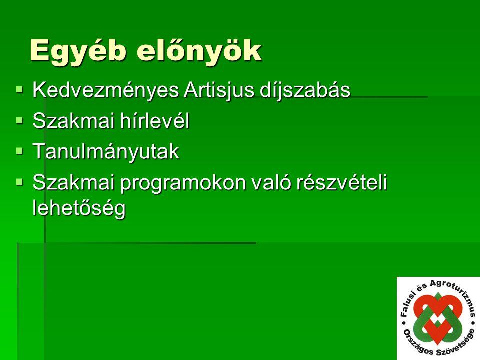 Egyéb előnyök  Kedvezményes Artisjus díjszabás  Szakmai hírlevél  Tanulmányutak  Szakmai programokon való részvételi lehetőség