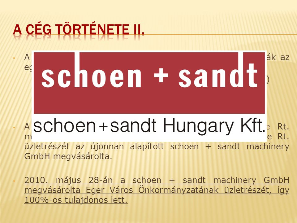 A céget 1992-ben Schön-KEAV-Eger Kft.