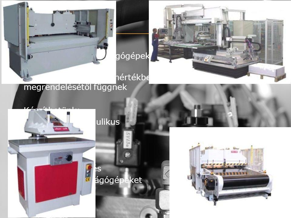 Cégünk fő profilja kivágógépek (stancológépek), valamint egyedi gépek gyártása Tulajdonságaik teljes mértékben vevőink kérésétől, megrendelésétől függnek Készíthetünk: komplett hidraulikus lengőfejes mozgófejes mozgóhidas nagyfelületű, és különleges kivágógépeket