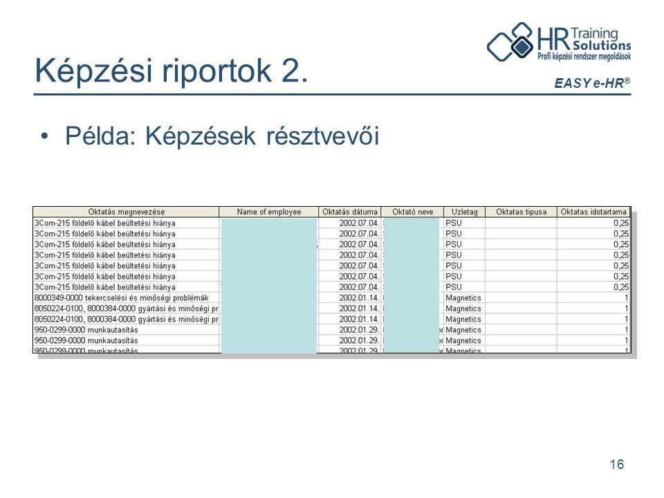 EASY e-HR ® 16 Képzési riportok 2. Példa: Képzések résztvevői