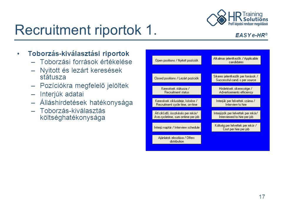 EASY e-HR ® 17 Recruitment riportok 1. Toborzás-kiválasztási riportok –Toborzási források értékelése –Nyitott és lezárt keresések státusza –Pozíciókra