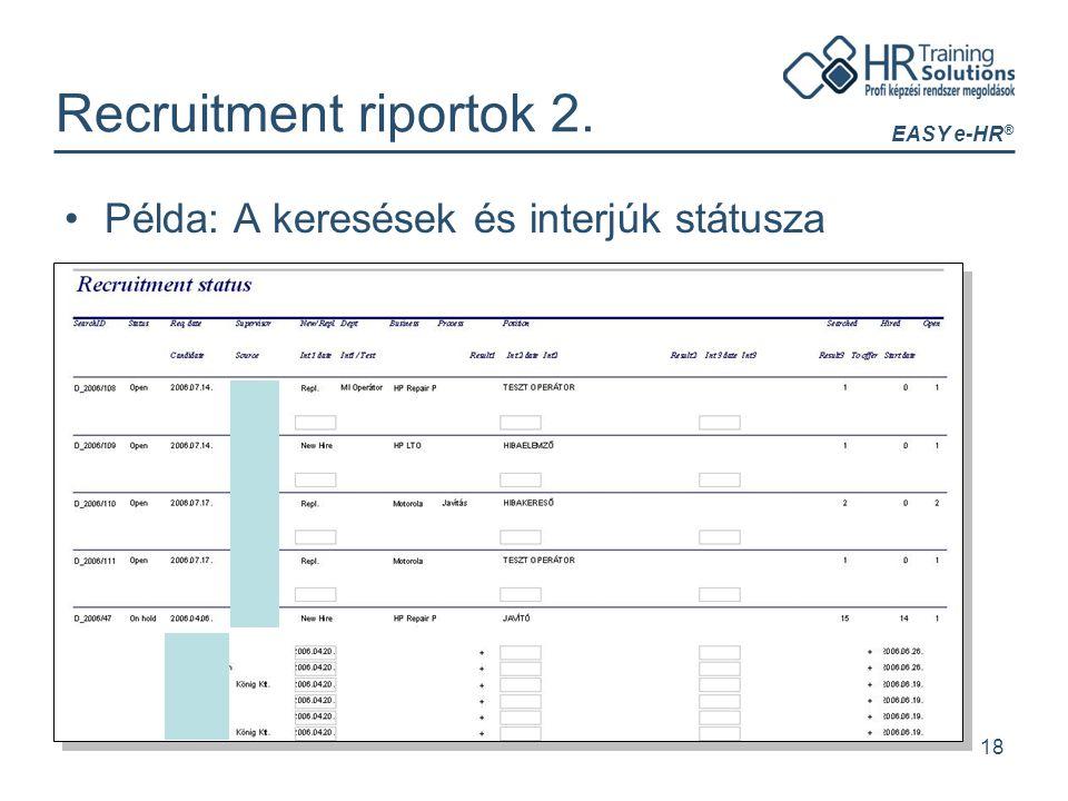 EASY e-HR ® 18 Recruitment riportok 2. Példa: A keresések és interjúk státusza