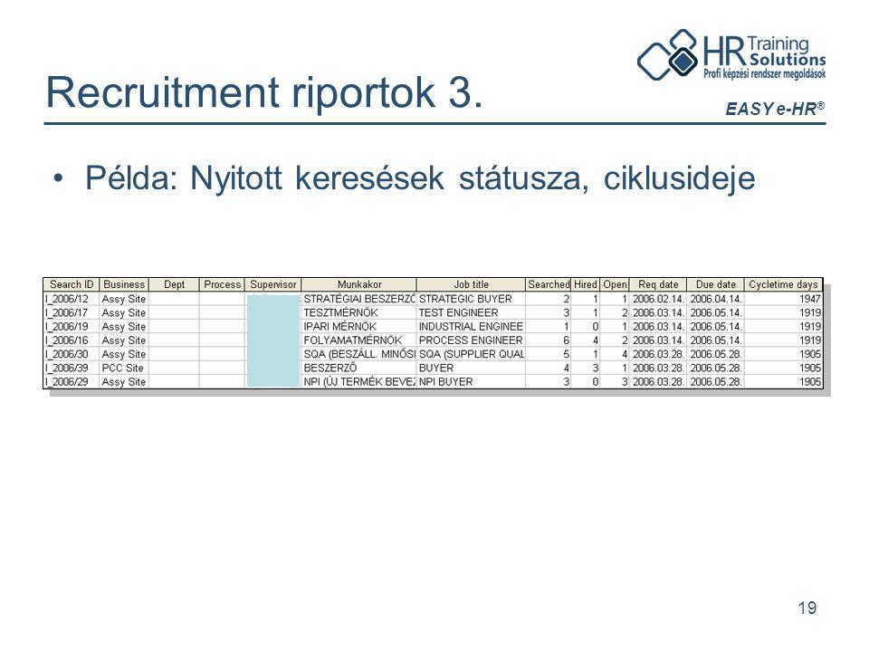 EASY e-HR ® 19 Recruitment riportok 3. Példa: Nyitott keresések státusza, ciklusideje