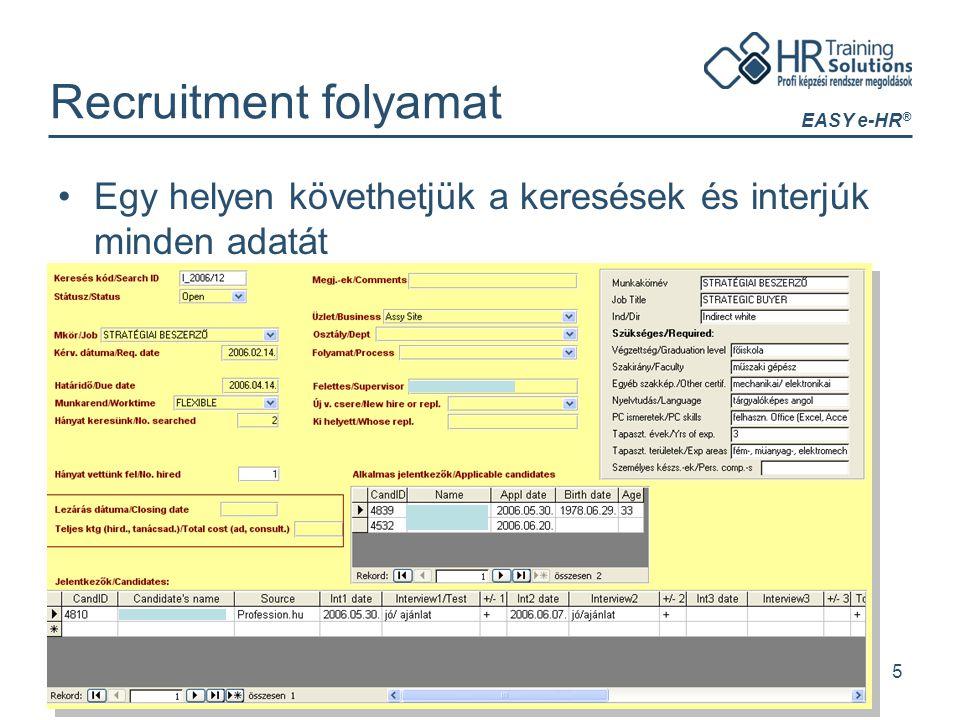 EASY e-HR ® 5 Recruitment folyamat Egy helyen követhetjük a keresések és interjúk minden adatát