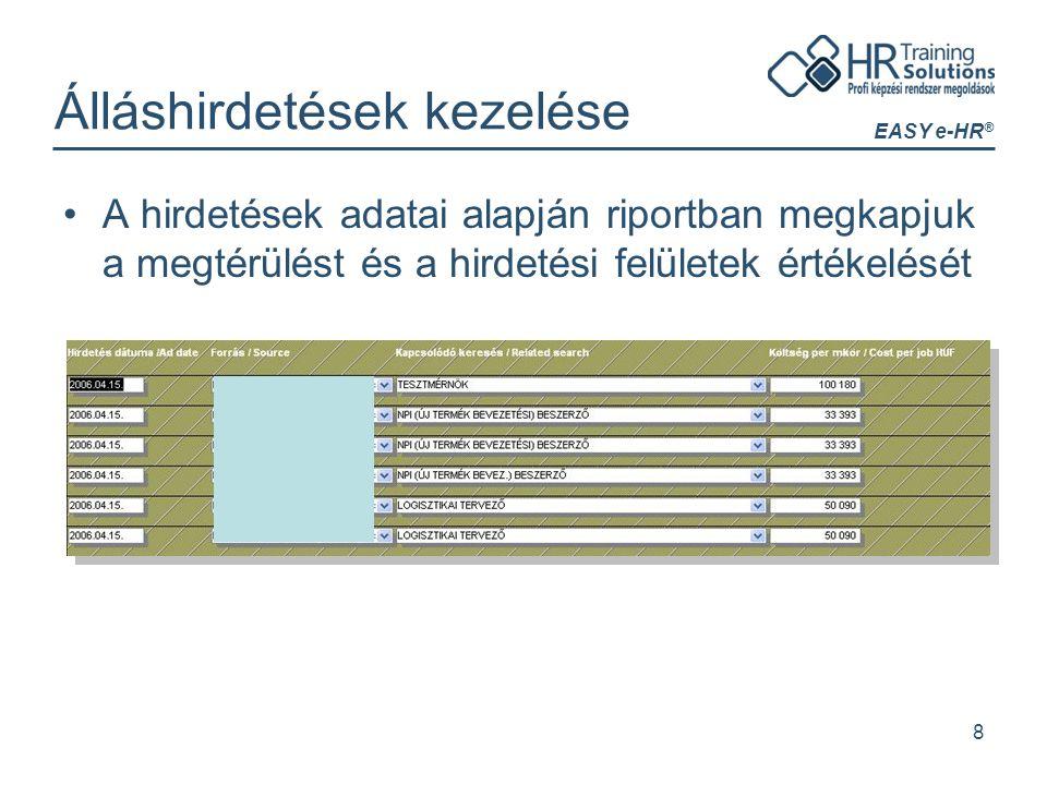 EASY e-HR ® 8 Álláshirdetések kezelése A hirdetések adatai alapján riportban megkapjuk a megtérülést és a hirdetési felületek értékelését