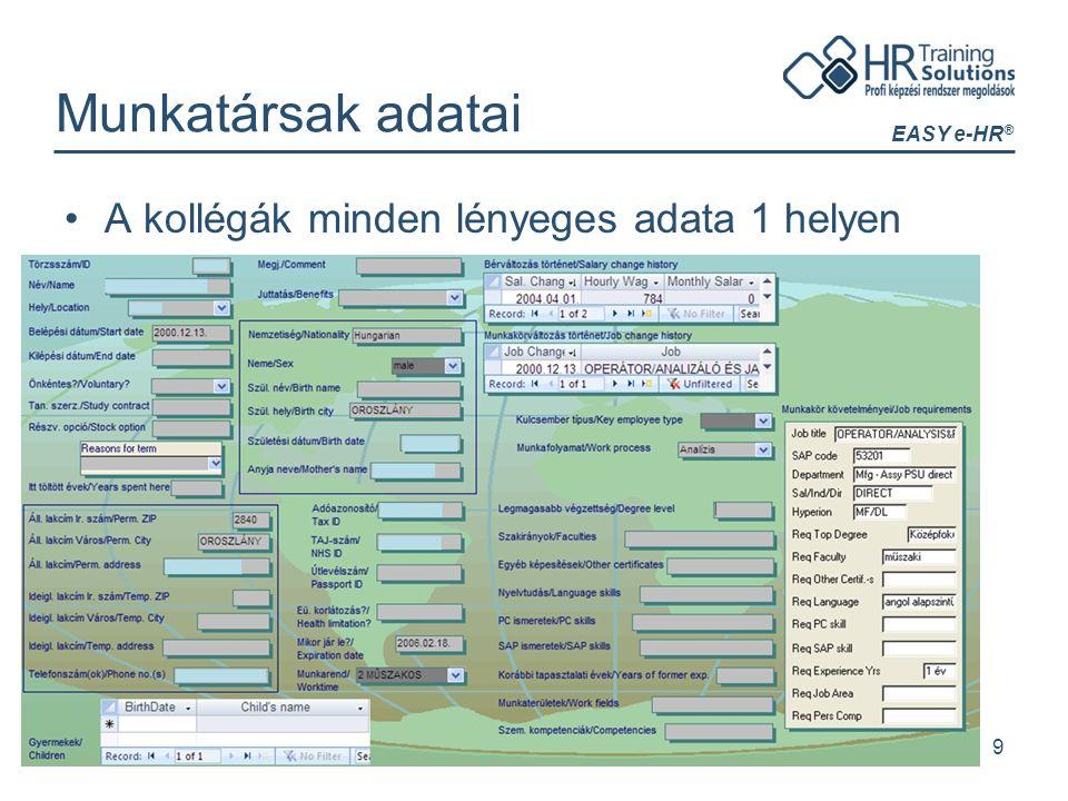 EASY e-HR ® 9 Munkatársak adatai A kollégák minden lényeges adata 1 helyen