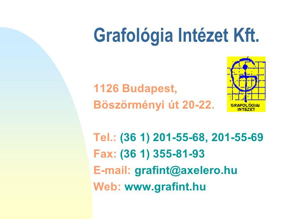 Grafológia Intézet Kft. 1126 Budapest, Böszörményi út 20-22. Tel.: (36 1) 201-55-68, 201-55-69 Fax: (36 1) 355-81-93 E-mail: grafint@axelero.hu Web: w