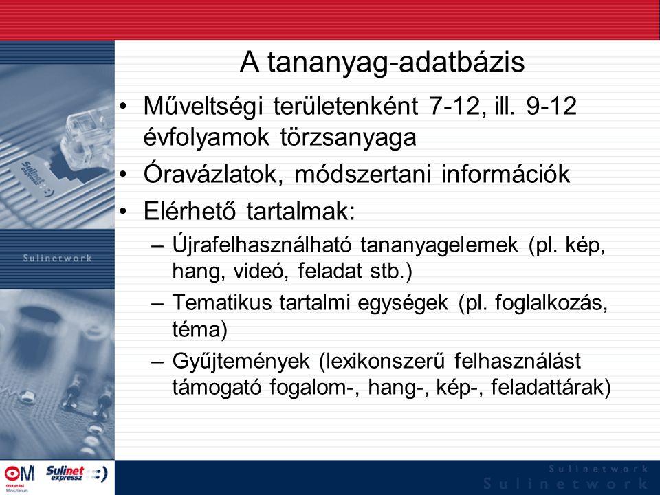 A tananyag-adatbázis Műveltségi területenként 7-12, ill. 9-12 évfolyamok törzsanyaga Óravázlatok, módszertani információk Elérhető tartalmak: –Újrafel