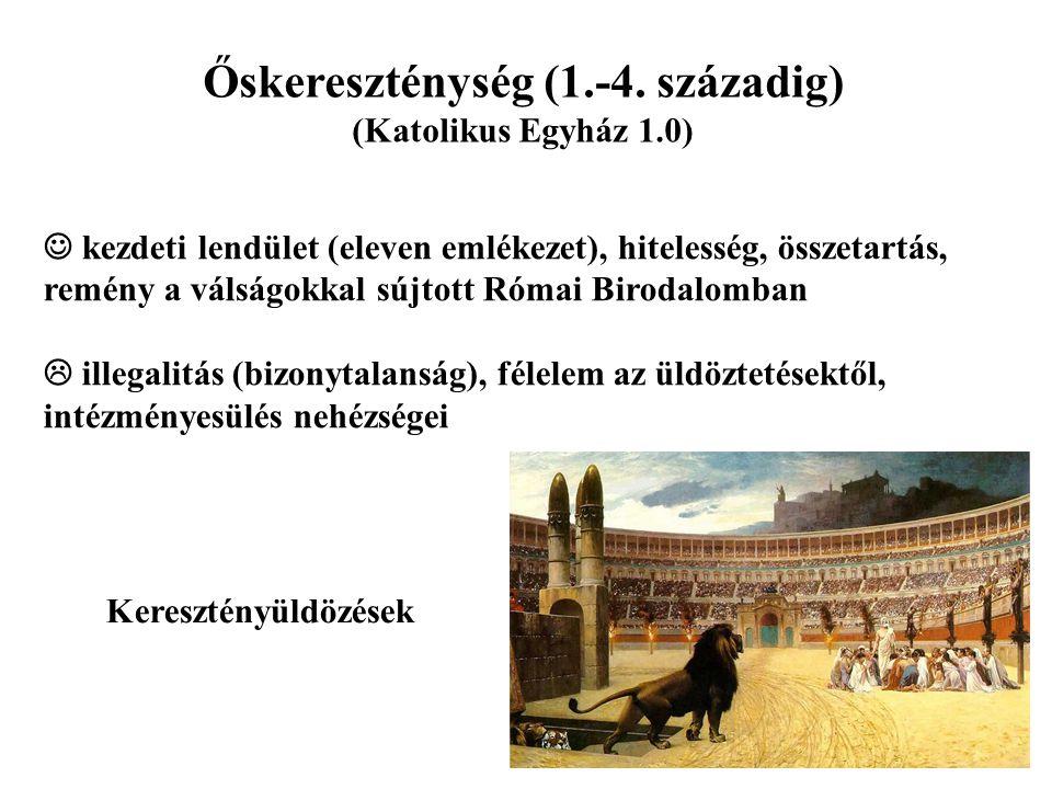 Őskereszténység (1.-4. századig) (Katolikus Egyház 1.0) kezdeti lendület (eleven emlékezet), hitelesség, összetartás, remény a válságokkal sújtott Róm