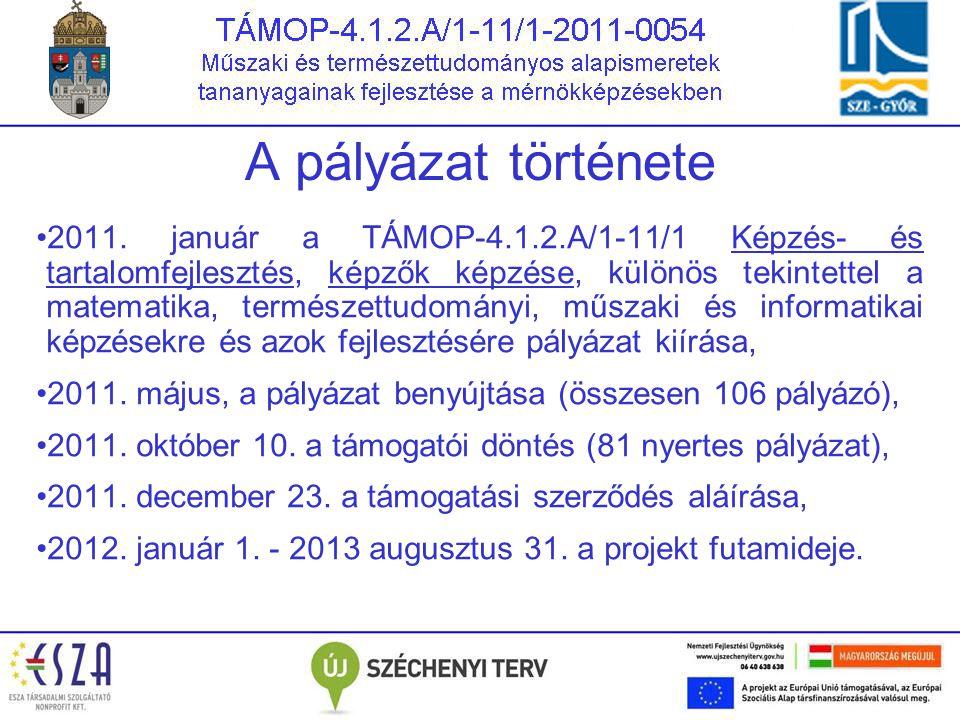 A pályázat története 2011. január a TÁMOP-4.1.2.A/1-11/1 Képzés- és tartalomfejlesztés, képzők képzése, különös tekintettel a matematika, természettud