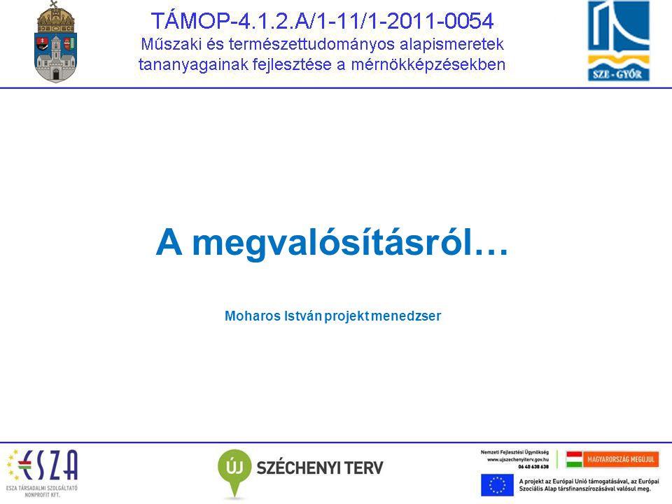 A megvalósításról… Moharos István projekt menedzser