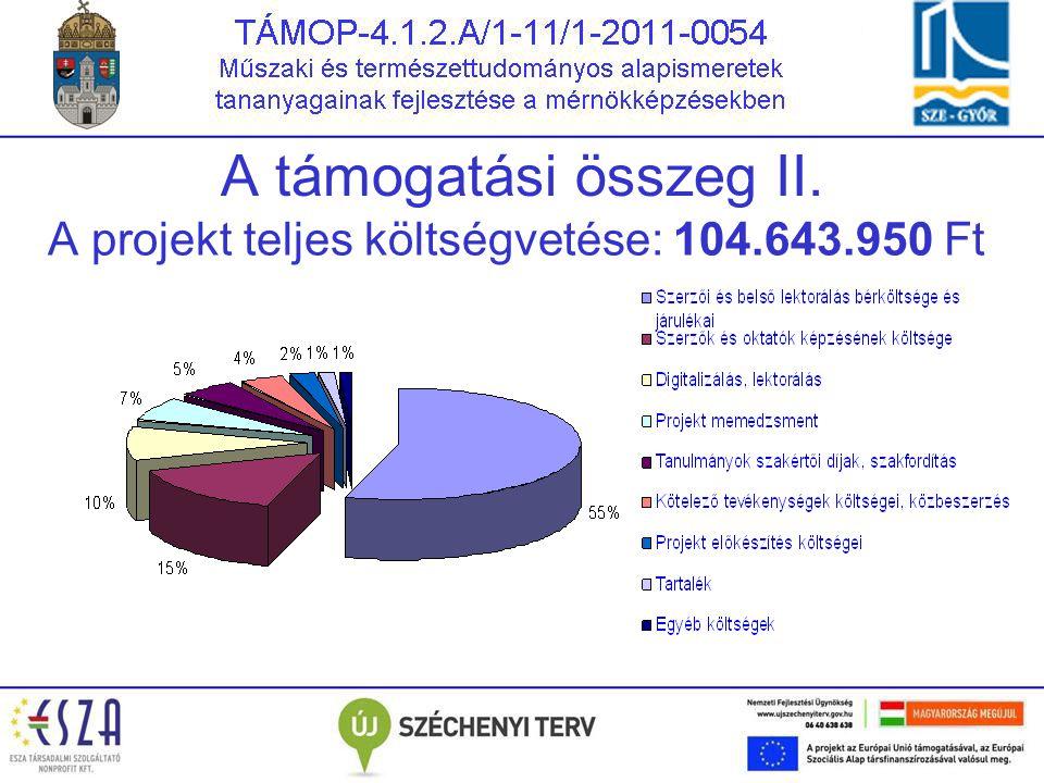 A támogatási összeg II. A projekt teljes költségvetése: 104.643.950 Ft