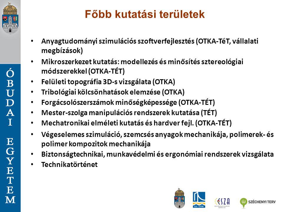 Főbb kutatási területek Anyagtudományi szimulációs szoftverfejlesztés (OTKA-TéT, vállalati megbízások) Mikroszerkezet kutatás: modellezés és minősítés