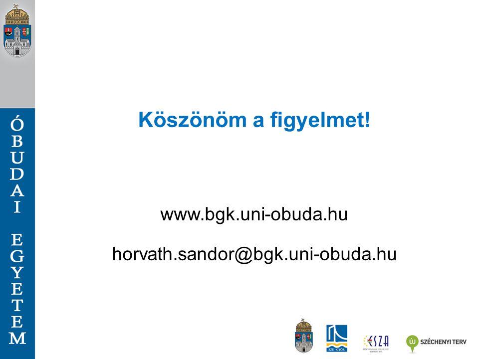 Köszönöm a figyelmet! www.bgk.uni-obuda.hu horvath.sandor@bgk.uni-obuda.hu