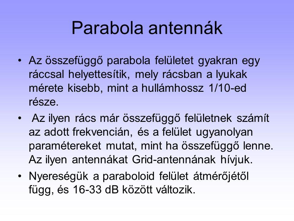 Parabola antennák Az összefüggő parabola felületet gyakran egy ráccsal helyettesítik, mely rácsban a lyukak mérete kisebb, mint a hullámhossz 1/10-ed