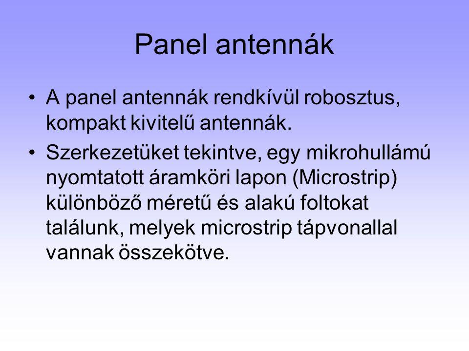 Panel antennák A panel antennák rendkívül robosztus, kompakt kivitelű antennák. Szerkezetüket tekintve, egy mikrohullámú nyomtatott áramköri lapon (Mi