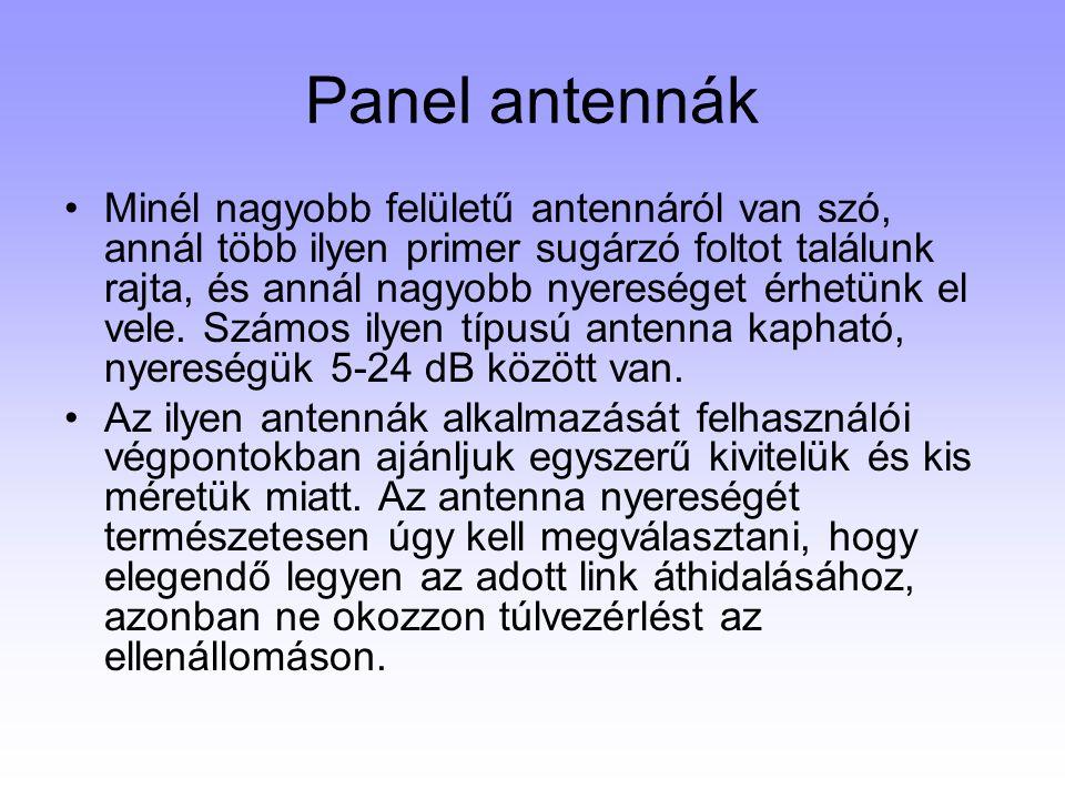 Panel antennák Minél nagyobb felületű antennáról van szó, annál több ilyen primer sugárzó foltot találunk rajta, és annál nagyobb nyereséget érhetünk