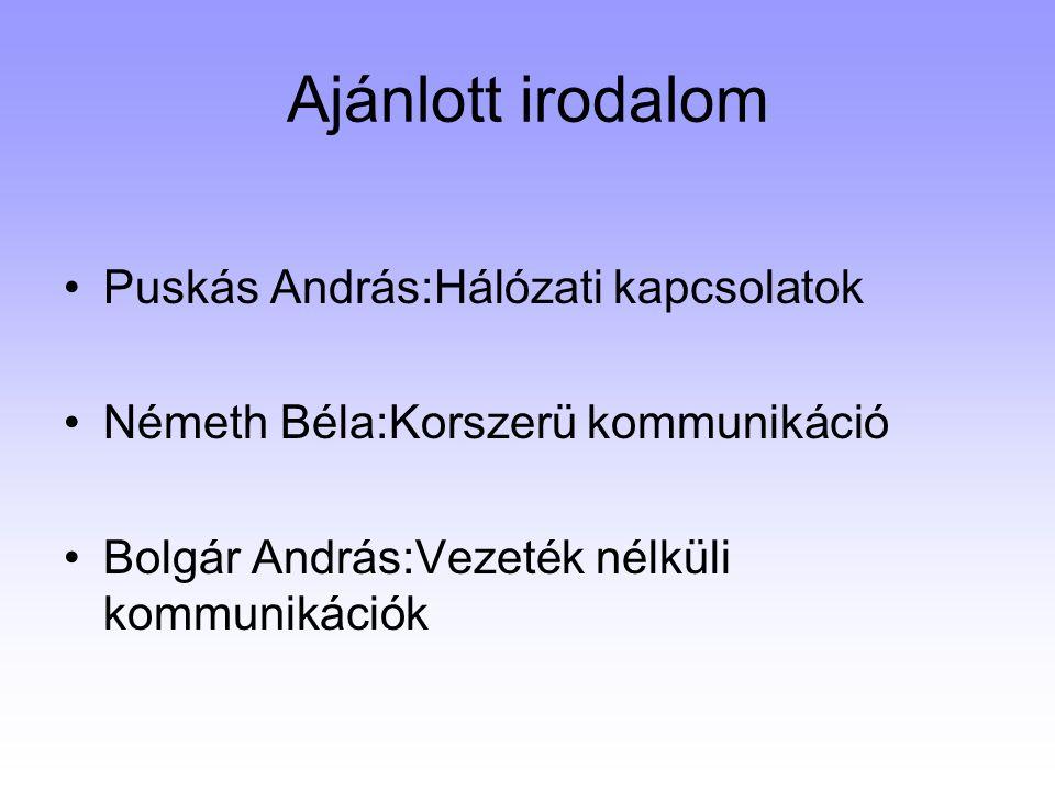 Ajánlott irodalom Puskás András:Hálózati kapcsolatok Németh Béla:Korszerü kommunikáció Bolgár András:Vezeték nélküli kommunikációk