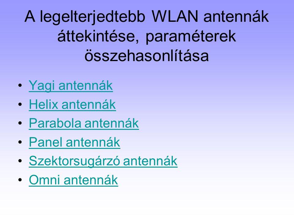 A legelterjedtebb WLAN antennák áttekintése, paraméterek összehasonlítása Yagi antennák Helix antennák Parabola antennák Panel antennák Szektorsugárzó