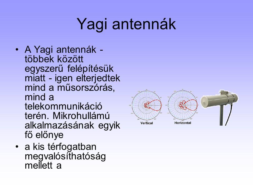 Yagi antennák A Yagi antennák - többek között egyszerű felépítésük miatt - igen elterjedtek mind a műsorszórás, mind a telekommunikáció terén. Mikrohu