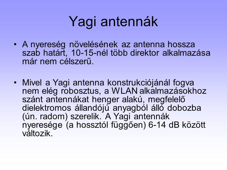 Yagi antennák A nyereség növelésének az antenna hossza szab határt, 10-15-nél több direktor alkalmazása már nem célszerű. Mivel a Yagi antenna konstru