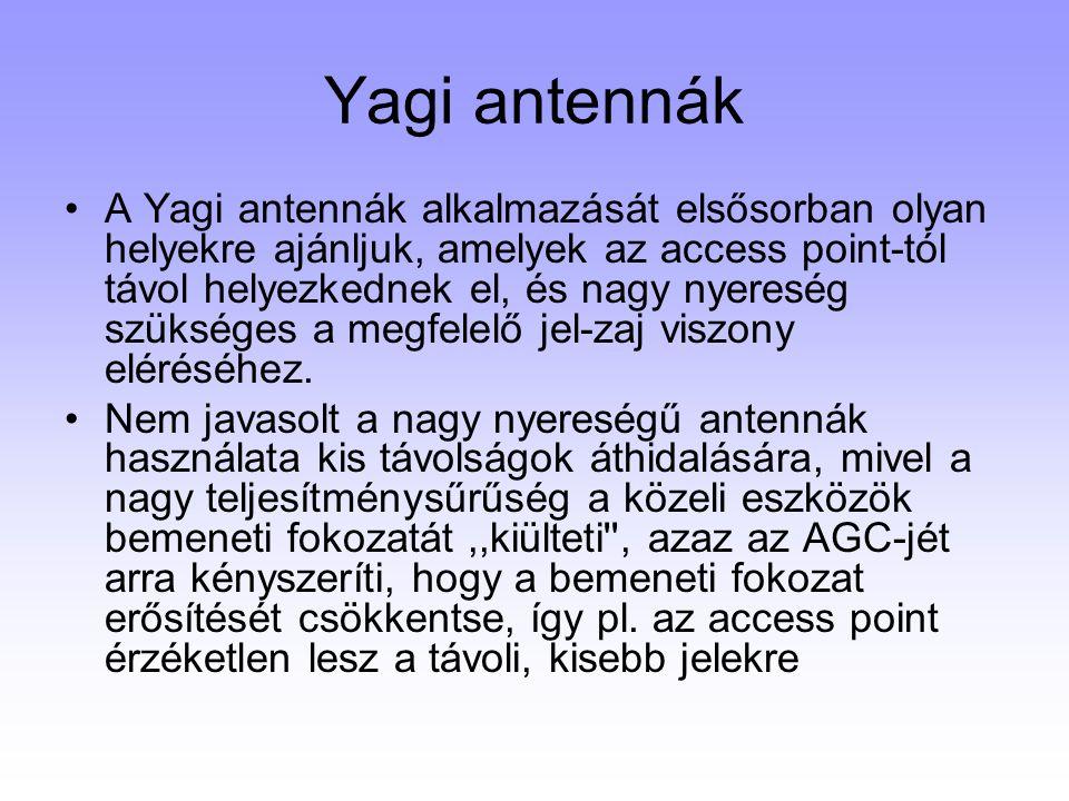 Yagi antennák A Yagi antennák alkalmazását elsősorban olyan helyekre ajánljuk, amelyek az access point-tól távol helyezkednek el, és nagy nyereség szü