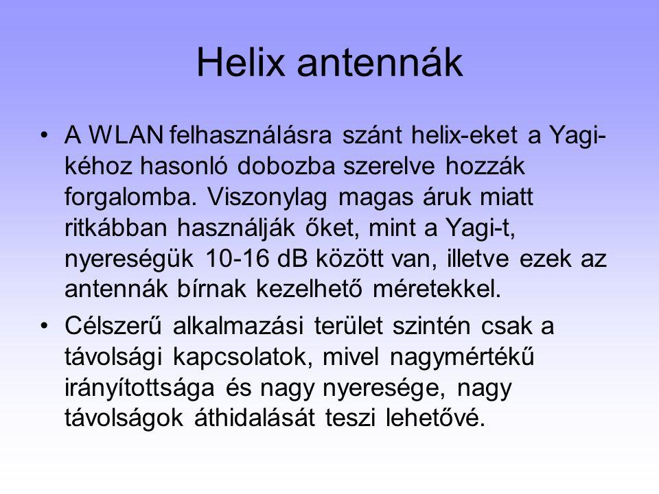 Helix antennák A WLAN felhasználásra szánt helix-eket a Yagi- kéhoz hasonló dobozba szerelve hozzák forgalomba. Viszonylag magas áruk miatt ritkábban