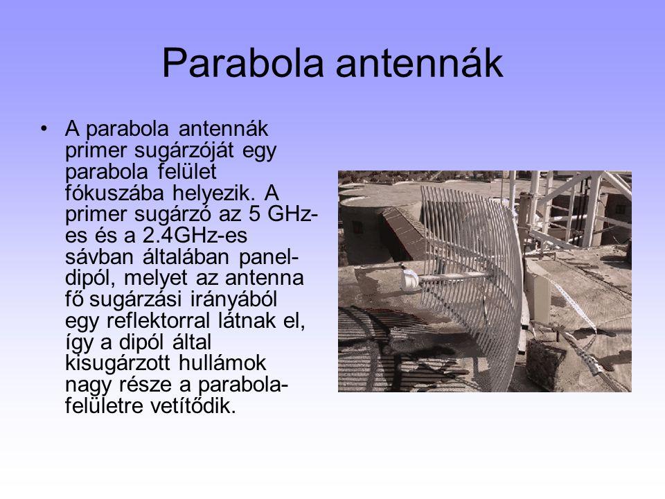 Parabola antennák A parabola antennák primer sugárzóját egy parabola felület fókuszába helyezik. A primer sugárzó az 5 GHz- es és a 2.4GHz-es sávban á