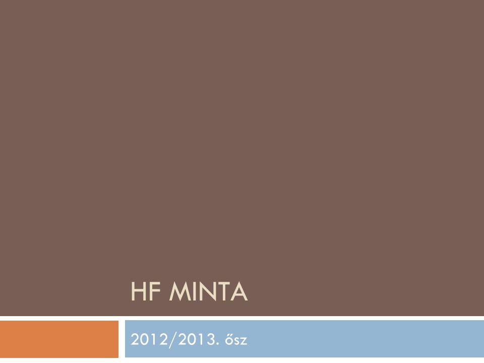 HF MINTA 2012/2013. ősz