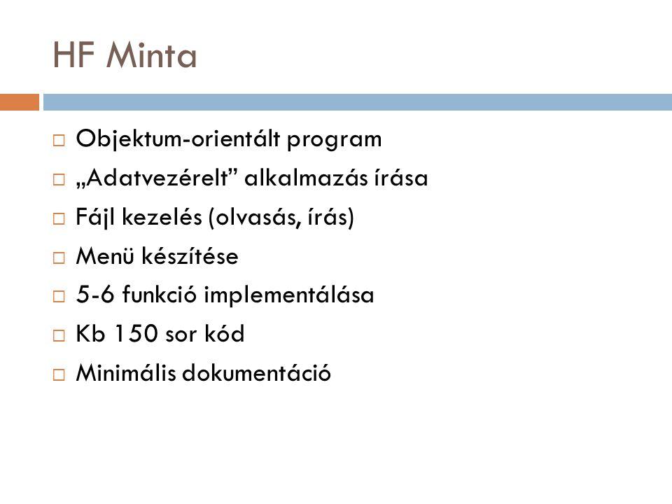 """HF Minta  Objektum-orientált program  """"Adatvezérelt alkalmazás írása  Fájl kezelés (olvasás, írás)  Menü készítése  5-6 funkció implementálása  Kb 150 sor kód  Minimális dokumentáció"""