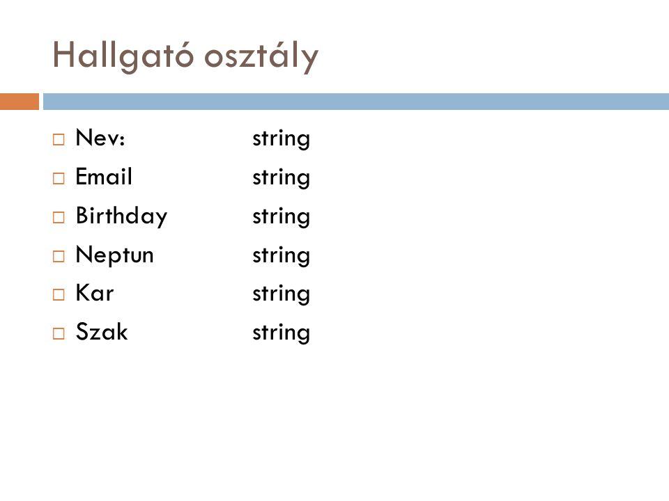 Hallgató osztály  Nev: string  Emailstring  Birthdaystring  Neptunstring  Karstring  Szakstring