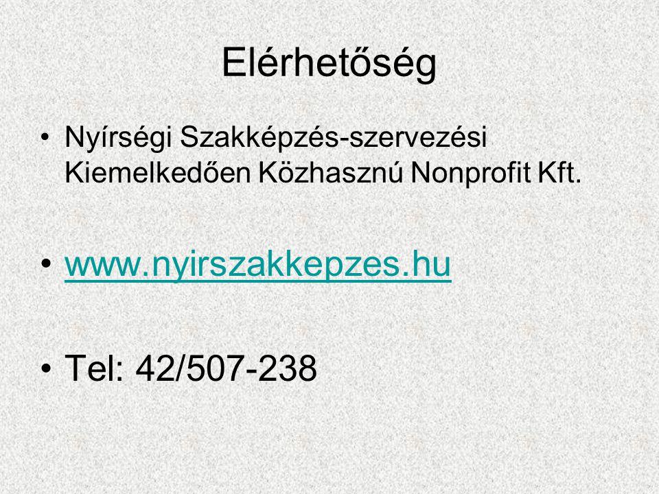Elérhetőség Nyírségi Szakképzés-szervezési Kiemelkedően Közhasznú Nonprofit Kft.