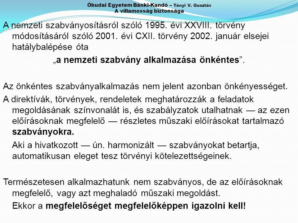 """A nemzeti szabványosításról szóló 1995. évi XXVIII. törvény módosításáról szóló 2001. évi CXII. törvény 2002. január elsejei hatálybalépése óta """"a nem"""