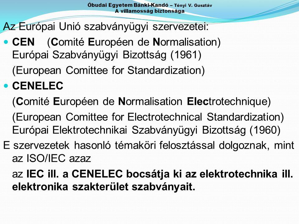 Óbudai Egyetem Bánki-Kandó – Tényi V. Gusztáv A villamosság biztonsága Az Európai Unió szabványügyi szervezetei: CEN (Comité Européen de Normalisation