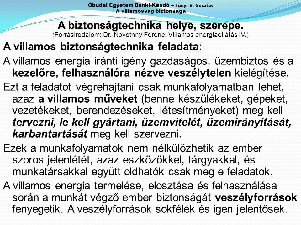Óbudai Egyetem Bánki-Kandó – Tényi V. Gusztáv A villamosság biztonsága A biztonságtechnika helye, szerepe. (Forrásirodalom: Dr. Novothny Ferenc: Villa