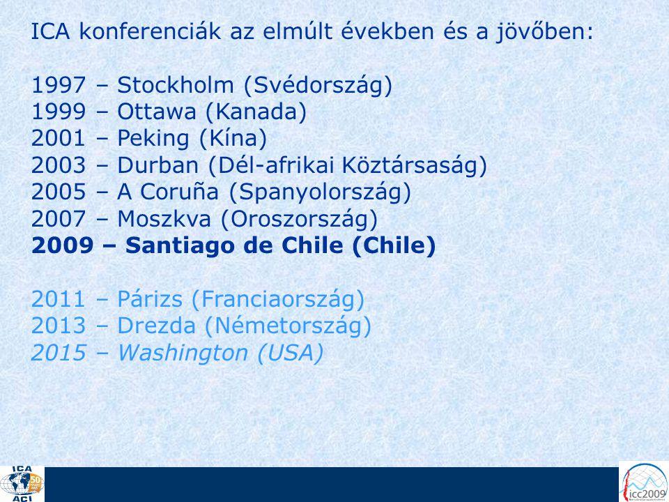 ICA konferenciák az elmúlt években és a jövőben: 1997 – Stockholm (Svédország) 1999 – Ottawa (Kanada) 2001 – Peking (Kína) 2003 – Durban (Dél-afrikai Köztársaság) 2005 – A Coruña (Spanyolország) 2007 – Moszkva (Oroszország) 2009 – Santiago de Chile (Chile) 2011 – Párizs (Franciaország) 2013 – Drezda (Németország) 2015 – Washington (USA)
