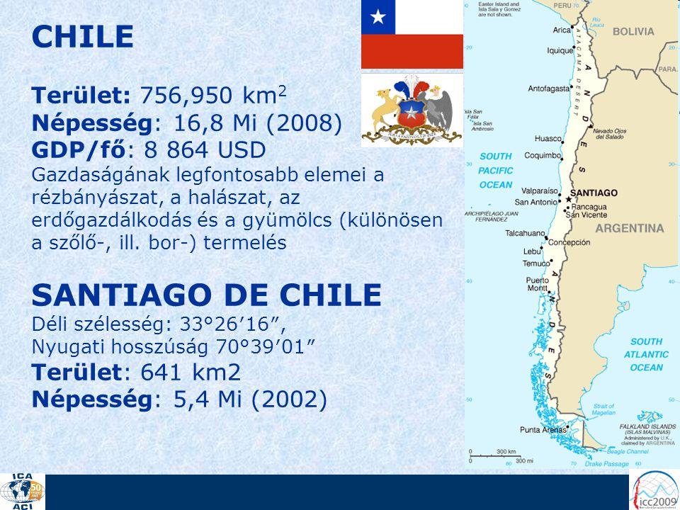 CHILE Terület: 756,950 km 2 Népesség: 16,8 Mi (2008) GDP/fő: 8 864 USD Gazdaságának legfontosabb elemei a rézbányászat, a halászat, az erdőgazdálkodás