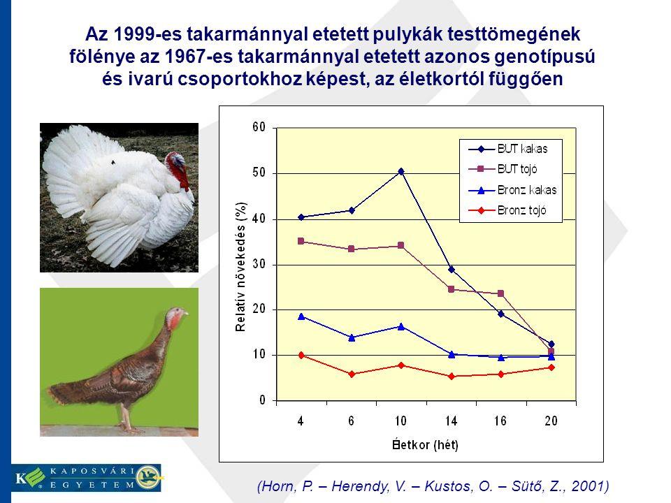 Az 1999-es takarmánnyal etetett pulykák testtömegének fölénye az 1967-es takarmánnyal etetett azonos genotípusú és ivarú csoportokhoz képest, az életkortól függően (Horn, P.