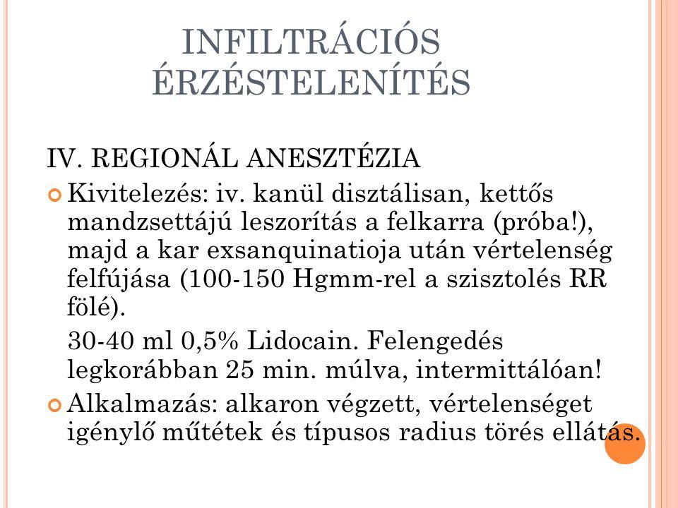 INFILTRÁCIÓS ÉRZÉSTELENÍTÉS IV.REGIONÁL ANESZTÉZIA Kivitelezés: iv.