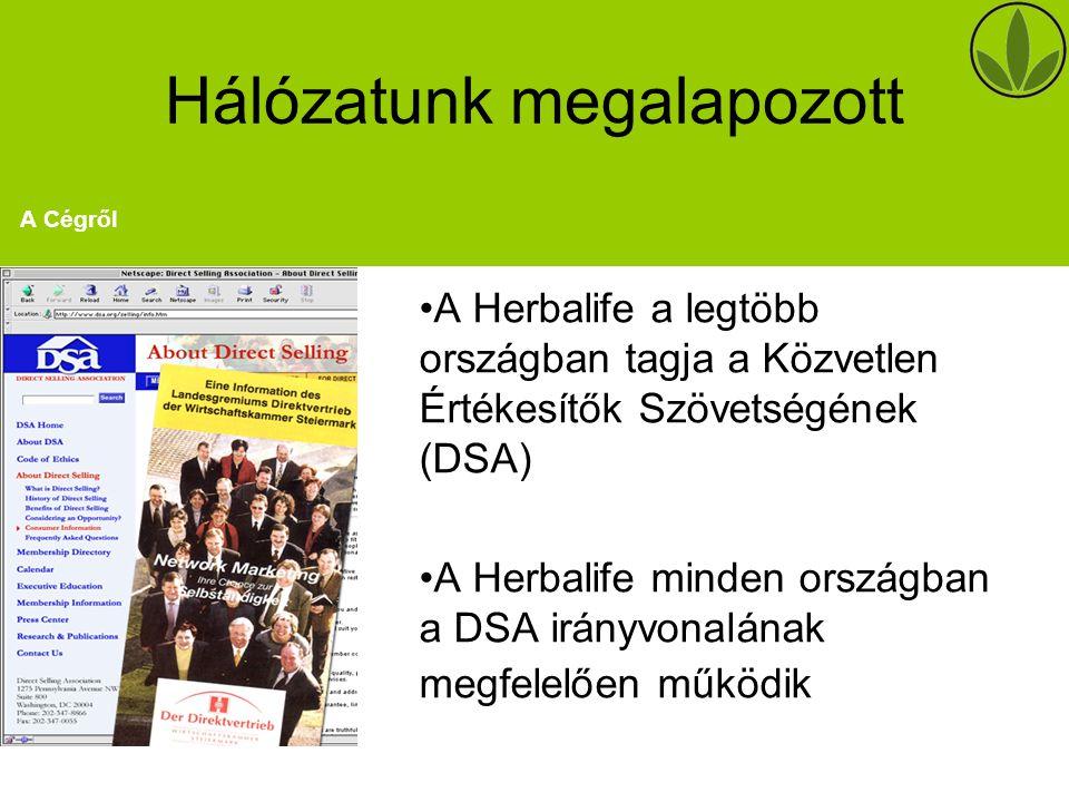 Hálózatunk megalapozott A Herbalife a legtöbb országban tagja a Közvetlen Értékesítők Szövetségének (DSA) A Herbalife minden országban a DSA irányvonalának megfelelően működik A Cégről