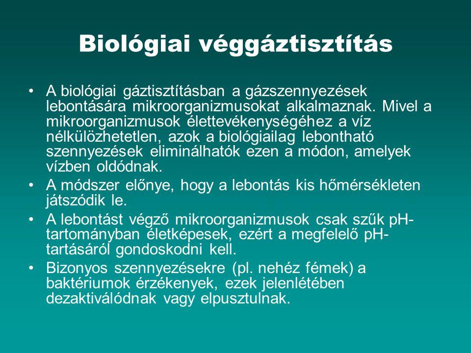 Biológiai véggáztisztítás A biológiai gáztisztításban a gázszennyezések lebontására mikroorganizmusokat alkalmaznak. Mivel a mikroorganizmusok élettev