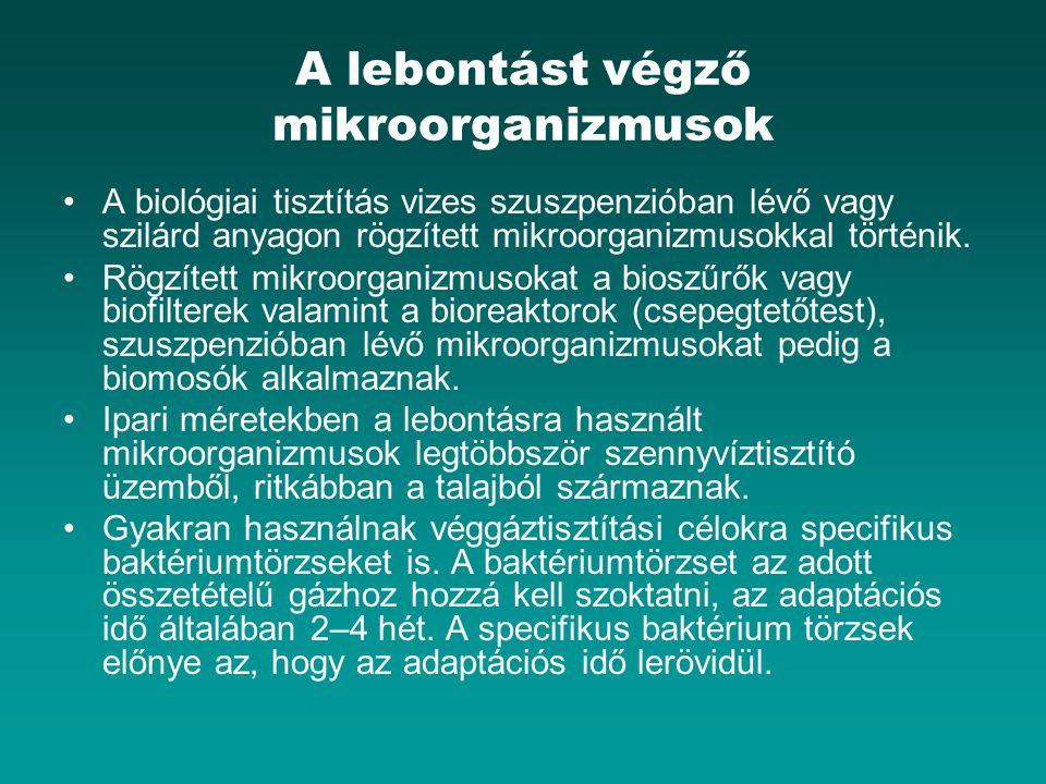 A lebontást végző mikroorganizmusok A biológiai tisztítás vizes szuszpenzióban lévő vagy szilárd anyagon rögzített mikroorganizmusokkal történik. Rögz