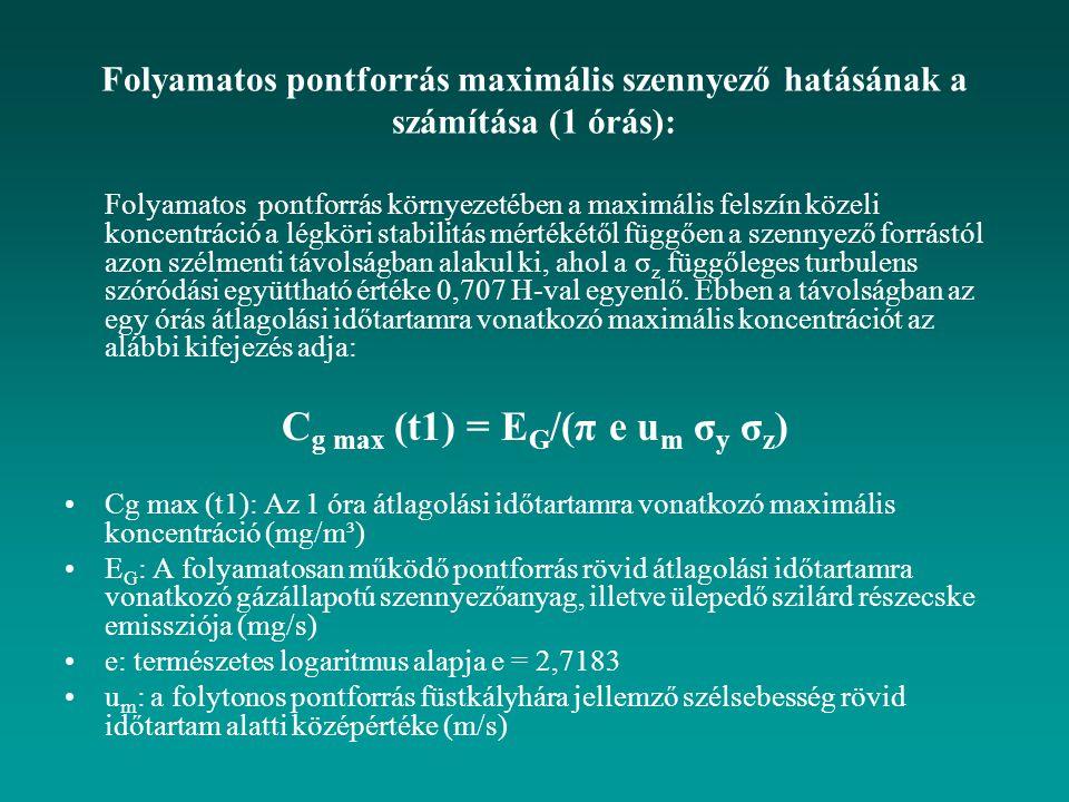 Folyamatos pontforrás maximális szennyező hatásának a számítása (1 órás): Folyamatos pontforrás környezetében a maximális felszín közeli koncentráció a légköri stabilitás mértékétől függően a szennyező forrástól azon szélmenti távolságban alakul ki, ahol a σ z függőleges turbulens szóródási együttható értéke 0,707 H-val egyenlő.