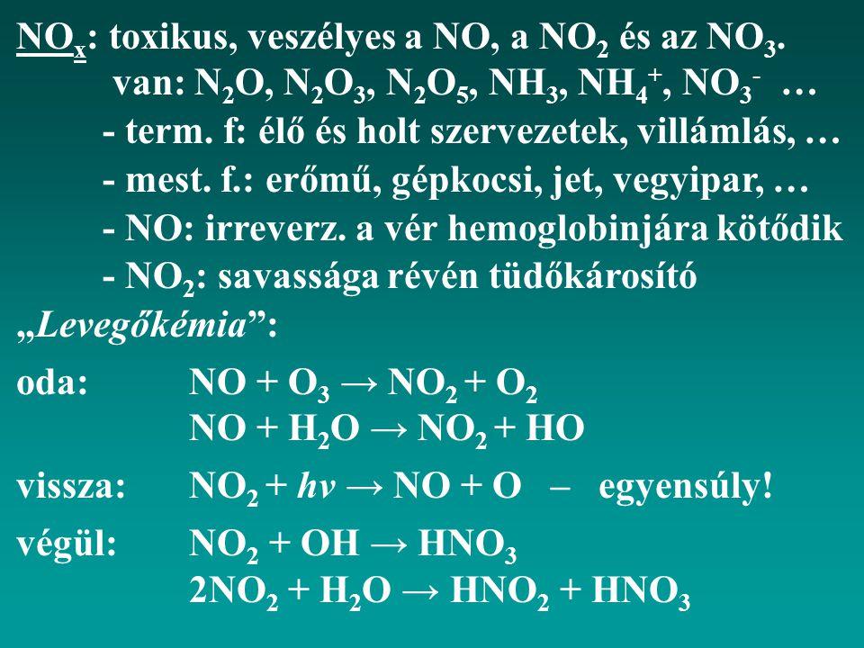 NO x : toxikus, veszélyes a NO, a NO 2 és az NO 3. van: N 2 O, N 2 O 3, N 2 O 5, NH 3, NH 4 +, NO 3 - … - term. f: élő és holt szervezetek, villámlás,